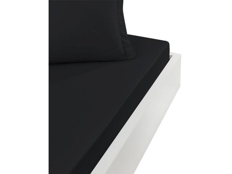 Drap housse 57 fils - grand bonnet 30cm - 100% coton doux et résistant studio - noir - 90x190