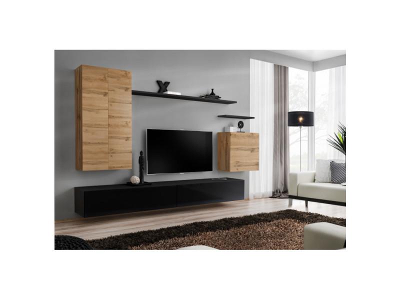 Ensemble mural - switch xx - 1 vitrine led - 1 banc tv - 1 étagère murale - bois et noir - modèle 1