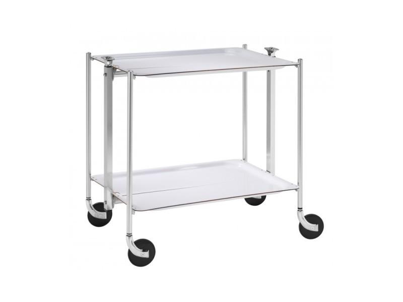Table Roulante Pliable 2 étages Chrome Et Plateaux Blancs