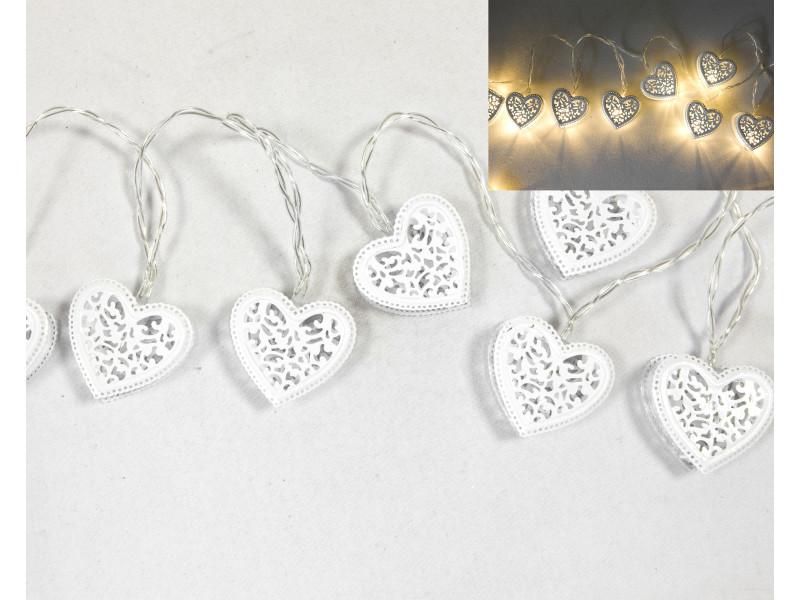Lot de 6 guirlandes 10 lampes led forme cœur métal blanc - 165 cm VISIODIRECT