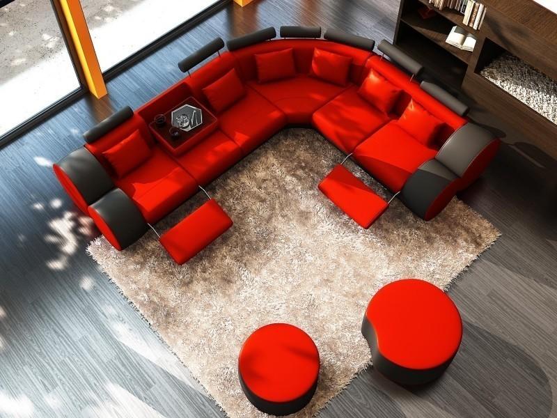 Canapé d'angle cuir rouge et noir + positions relax roma-