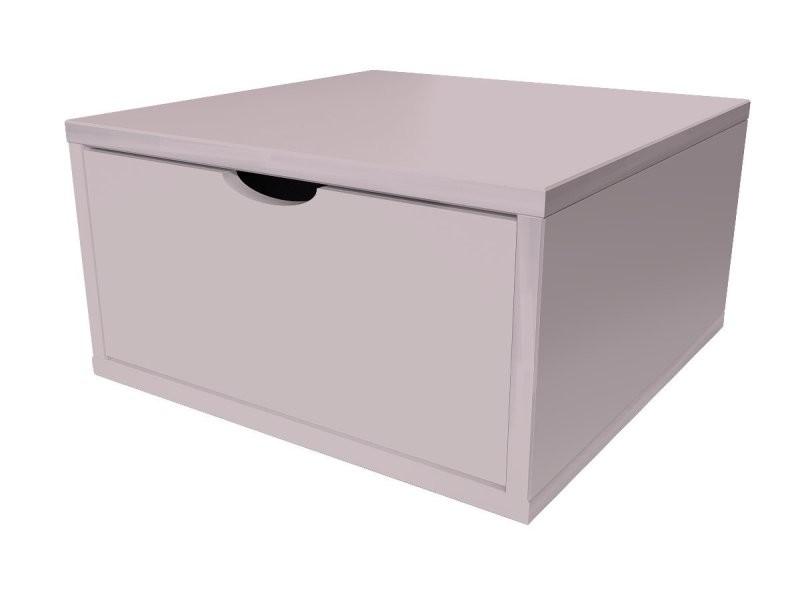 Cube de rangement bois 50x50 cm + tiroir violet pastel CUBE50T-ViP