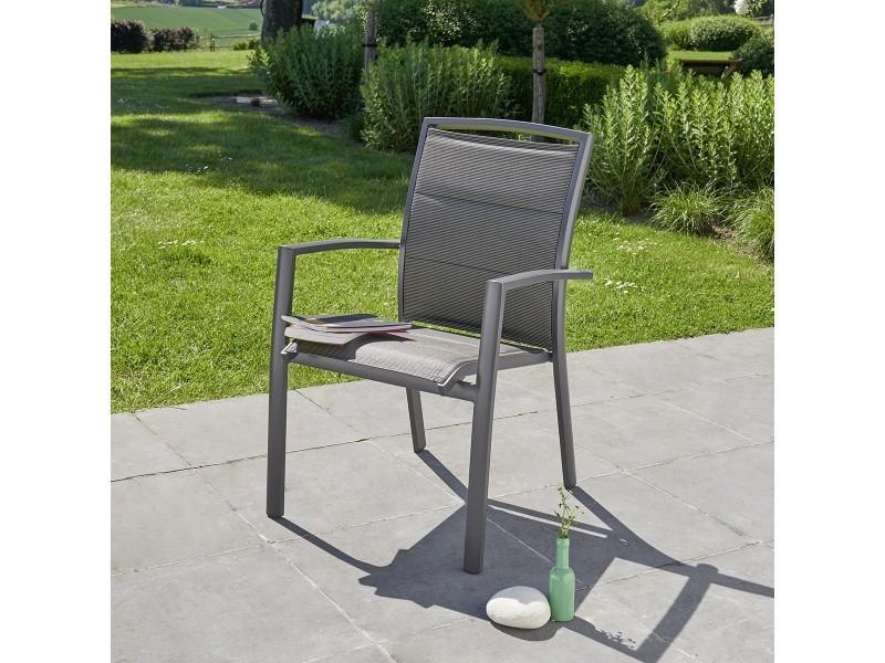 Fauteuil de jardin en aluminium et textilène gris