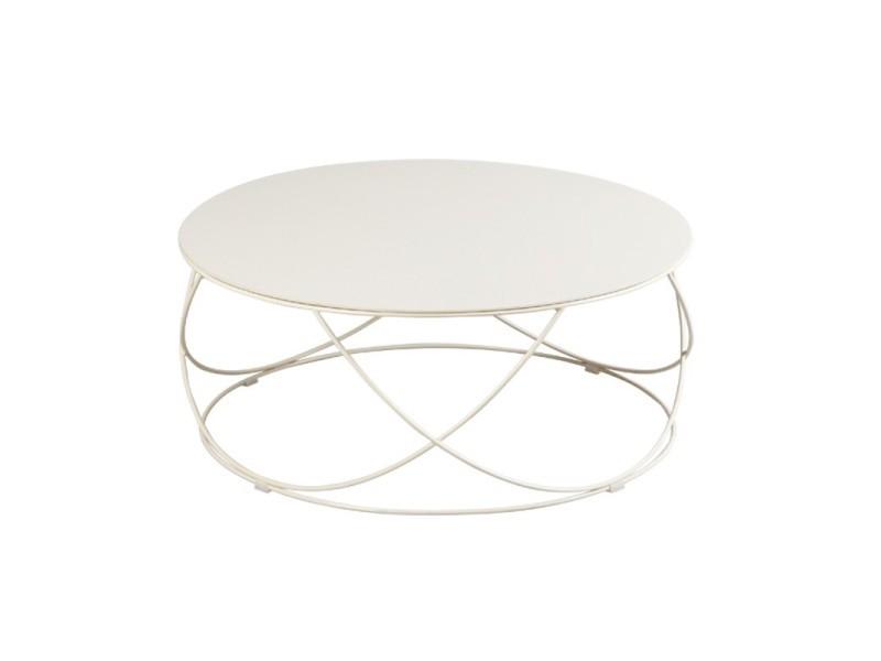 Table basse ronde plateau céramique champagne - dallas - l 85 x l 85 x h 36 - neuf