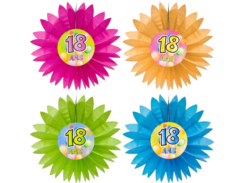 Lot de 4 eventails anniversaire \