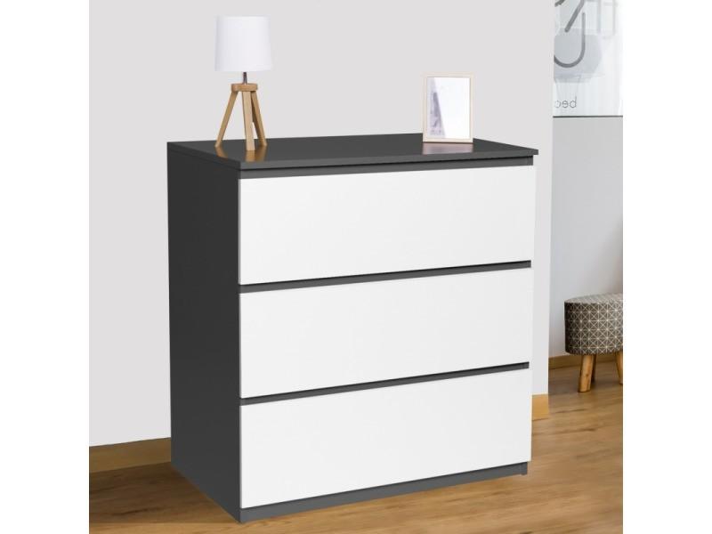 Commode 3 tiroirs bois blanc et gris tomi