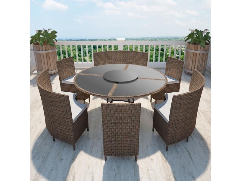 Vidaxl salon de jardin marron en polyrotin table ronde et chaises 12 ...