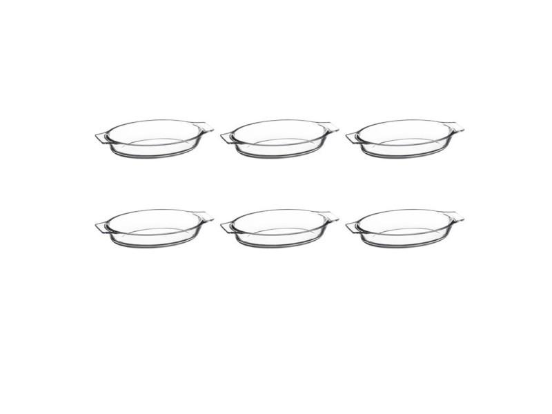 """Lot de 6 mini plats en verre """"ovale"""" 20cm transparent"""