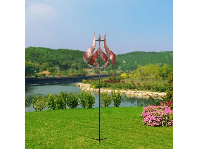 Eolienne décoration jardin moulin à vent girouette métal ...
