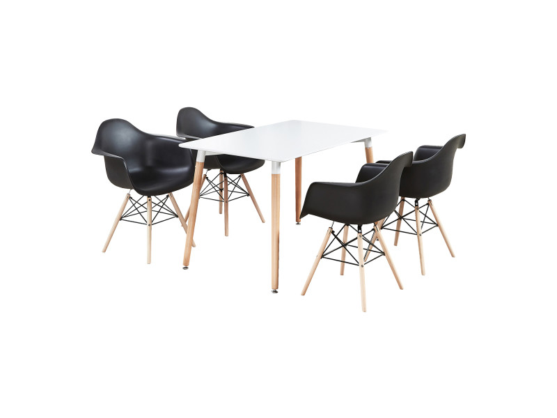 Ensemble table blanche & 4 chaises noires avec accoudoirs - style scandinave - moda halo