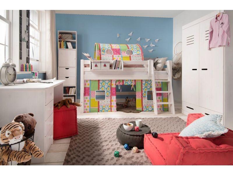 Armoire 2 portes et 2 tiroirs pour enfant 93 cm en pin massif ...
