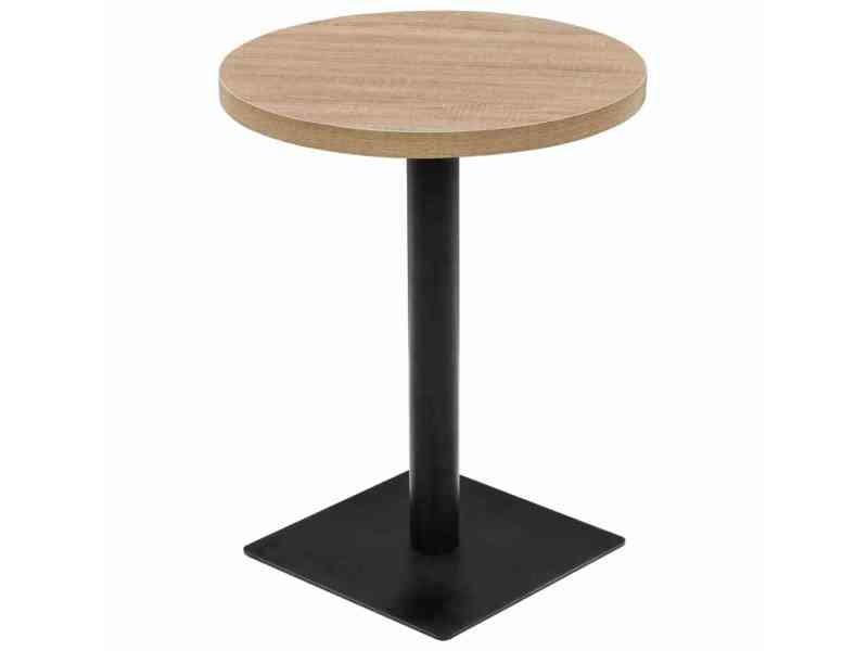 Stylé tables gamme lilongwe table de bistro mdf et acier rond 60 x 75 cm couleur de chêne