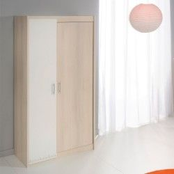 Armoire 2 portes acacia clair/blanc - price - l 86 x l 52 x h 180 - neuf