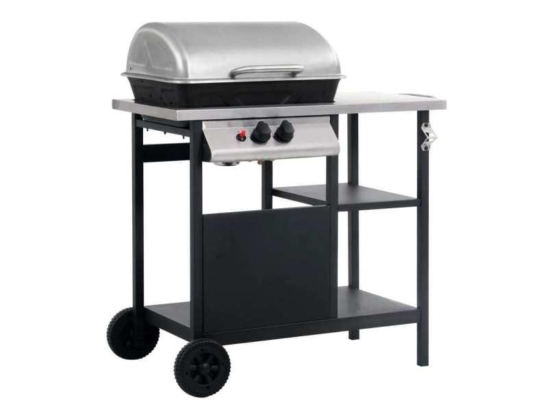 Magnifique électroménager de cuisine ensemble andorre-la-vieille barbecue à gaz avec tablette à 3 couches noir et argenté