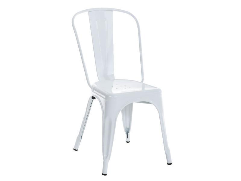 Chaise empilable en métal coloris blanc - 89 x 44 x 48 cm - pegane -