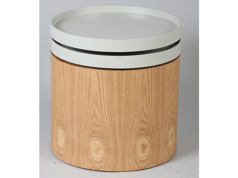 Bout de canapé en mdf coloris gris clair et naturel - dim : diam 45 x ht 50 cm -pegane-