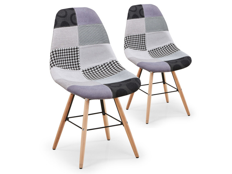 lot de 2 chaises scandinaves lisa patchwork gris vente. Black Bedroom Furniture Sets. Home Design Ideas