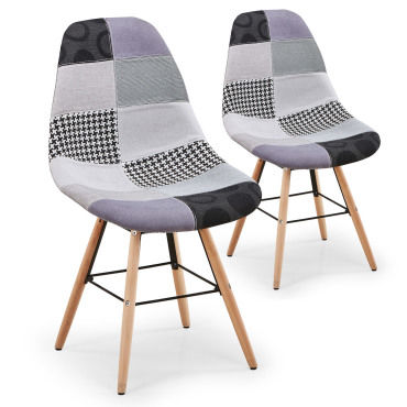 lot de 2 chaises scandinaves lisa patchwork gris vente de menzzo conforama. Black Bedroom Furniture Sets. Home Design Ideas