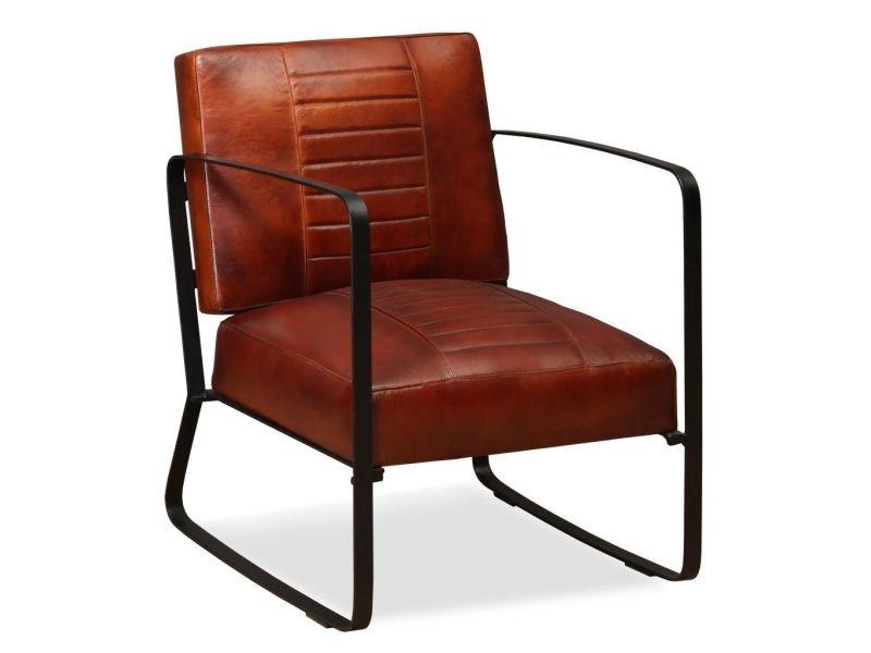 Fauteuil chaise siège lounge design club sofa salon de salon en cuir véritable marron helloshop26 1102322