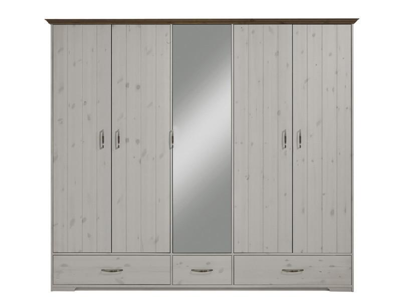 Armoire En Pin Massif Coloris Blanc Dim 206 X 238 X 61
