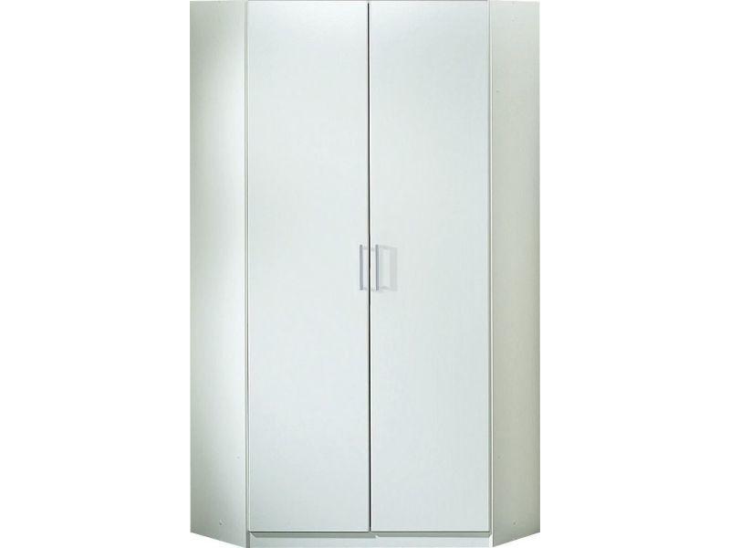 Armoire d\'angle 94 x 197 cm avec 2 portes coloris blanc p ...