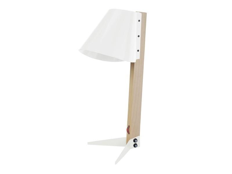 Tosel bileza lampe bureau acier et bois blanc d ivoire et bois