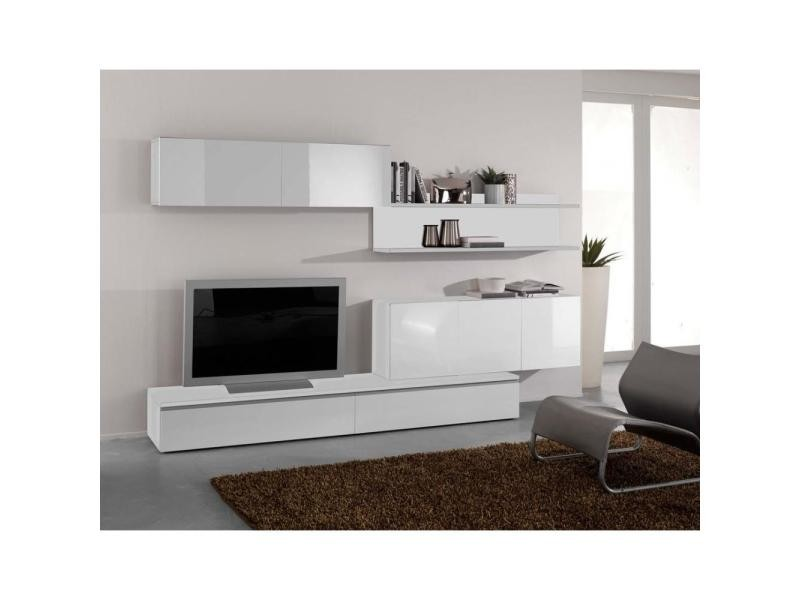 Composition murale tv design forte blanche 20100846653  Vente de Meuble tv  -> Meuble Tv A Suspendre Conforama