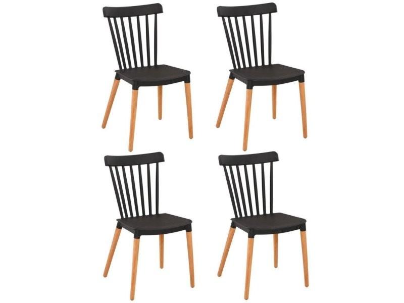Lot De 4 Chaises A Barreaux Design Scandinave Iconic Noire Mate Pietement Chene Clair