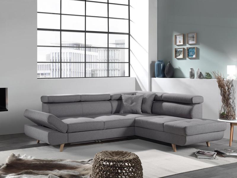 linea canap d 39 angle droit convertible scandinave l 252 x p 190cm couleur gris clair. Black Bedroom Furniture Sets. Home Design Ideas