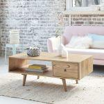 Table basse en bois de mindy avec tiroir 120 oslo