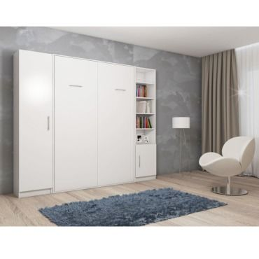 Composition Armoire Lit Escamotable Smart V2 Blanc Mat Couchage 160cm 2 Colonnes Rangements 20100884613 Vente De Armoire Conforama