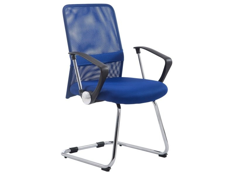 Chaise fauteuil de bureau avec accoudoirs en maille bleu sans