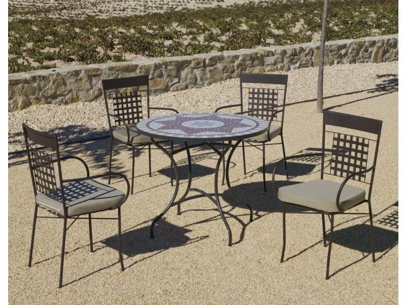 Salon de jardin 4 personnes métal et mosaïque aney vigo - Vente de ...