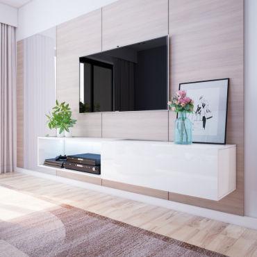 Meuble Tv Banc Tv Leo 200 Blanc Style Moderne Style