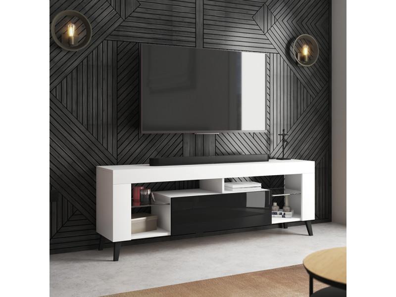 Meuble tv - hugob - 140 cm - blanc mat / noir brillant