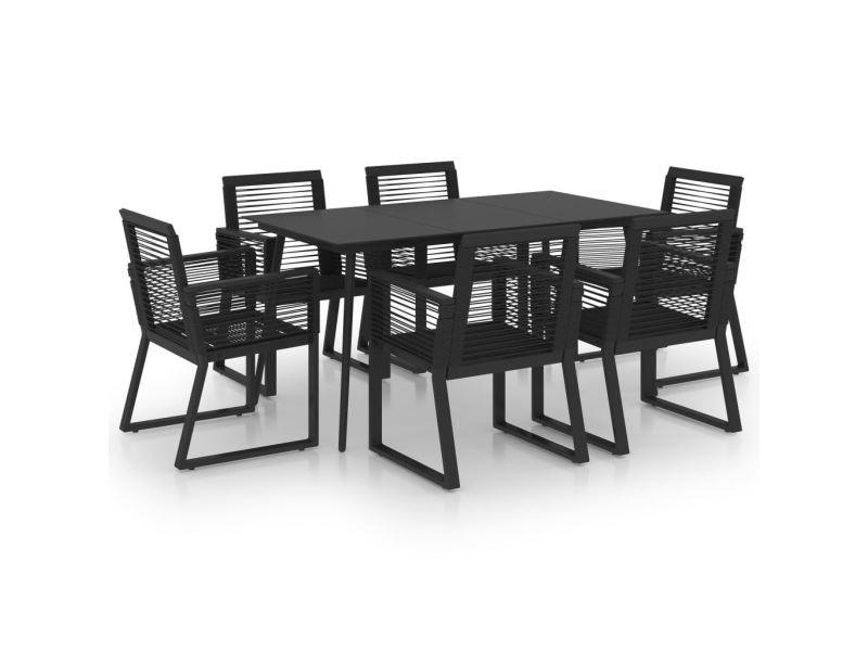 Vidaxl ensemble à dîner d'extérieur 7 pcs rotin pvc noir 3060216