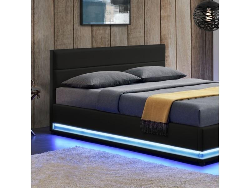 lit led avec coffre de rangement avas noir tailles 140x190 vente de meubler design. Black Bedroom Furniture Sets. Home Design Ideas