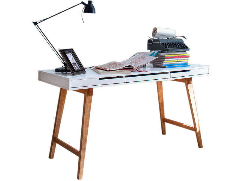 Bureau bois table bureau console avec tiroirs design scandinave