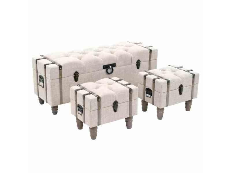 Moderne bancs collection vaduz ensemble de bancs de rangement 3 pcs bois massif et acier