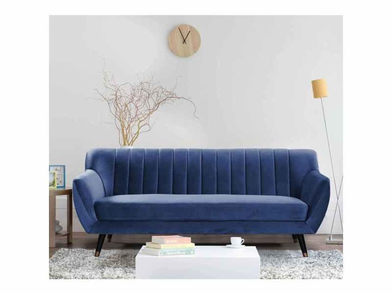 Canapé scandinave 3 places en tissu velours bleu pandora