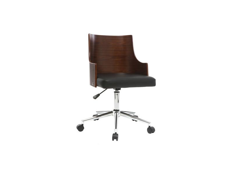 Chaise de bureau design noire et noyer mayol vente de fauteuil de