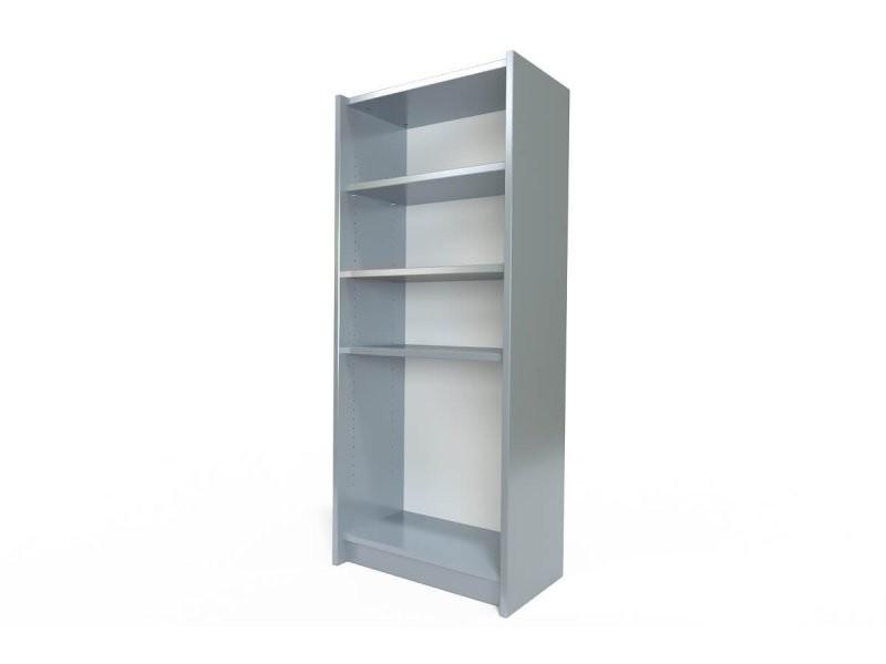 Étagère bibliothèque bois gris aluminium ETABIB-Ga