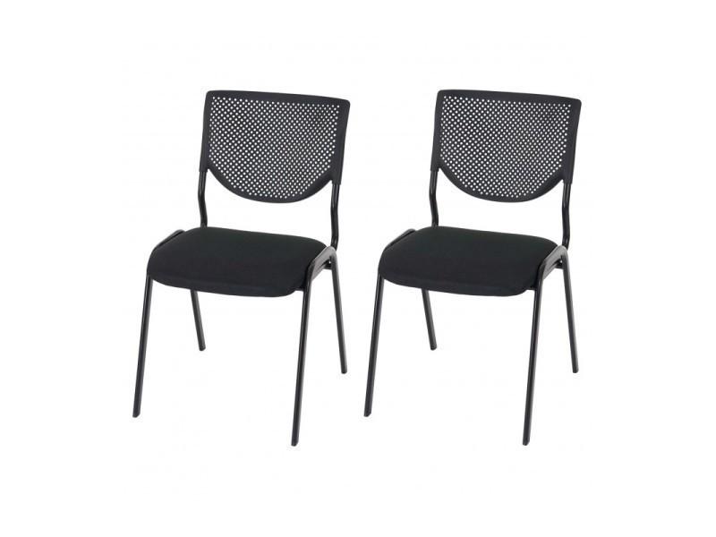 Lot de chaises ergonomique pour visiteur bureau noir pieds noirs