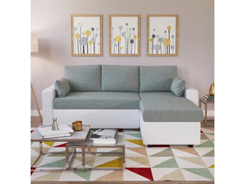 Canapé d'angle odeon convertible, coffre et réversible / blanc et gris