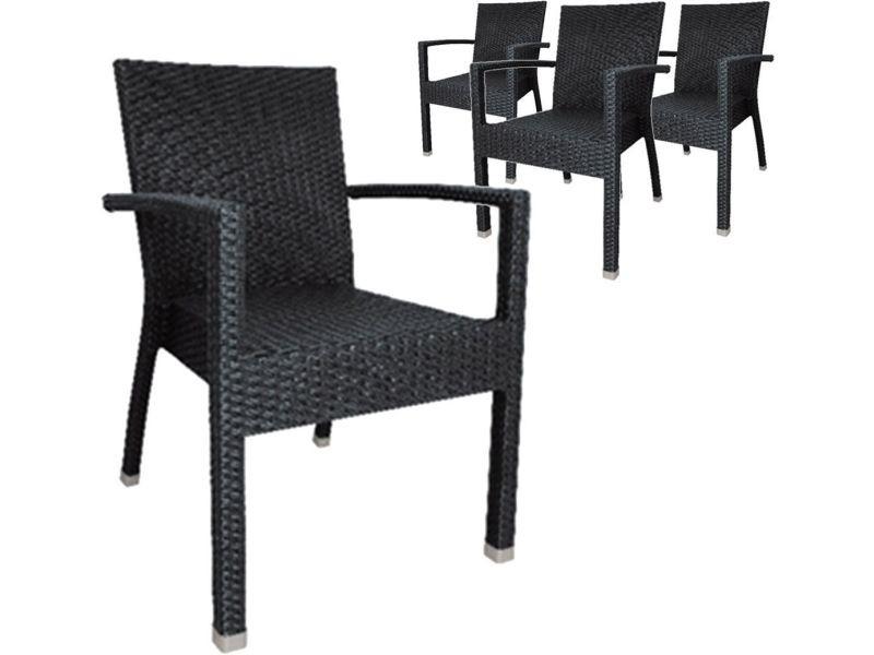 Lot de 4 chaises de jardin en osier empilables avec accoudoirs ...