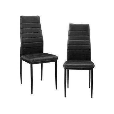 en.casa] 2 x chaise de salle à manger (noir) avec