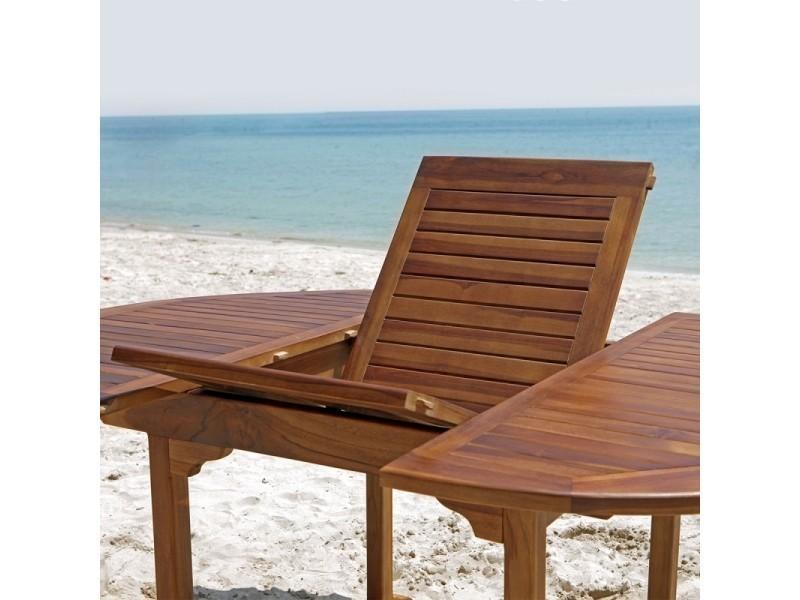 Table de jardin en bois de teck avec rallonge 6 à 8 places - Vente ...