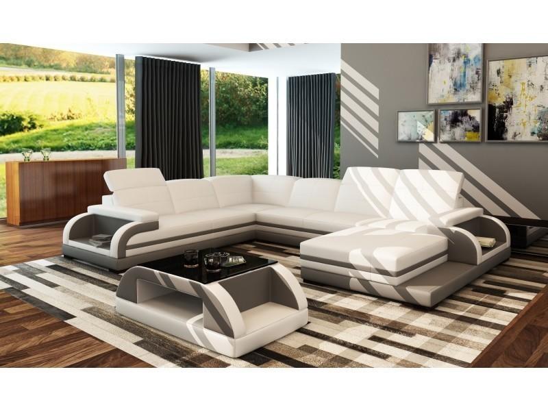 Canapé panoramique en cuir blanc et gris design bali panoramique (angle droit)-
