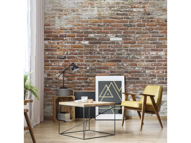 Papier peint panoramique mur briques rouge blanc 105416