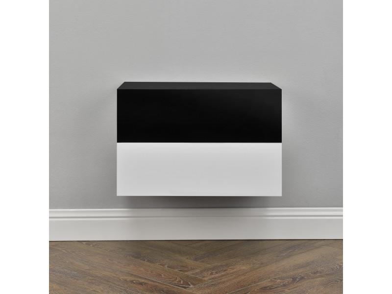 [en.casa]® 2 étagères murales pour chambre à coucher avec 2 tiroirs - blanc et noir laqué - 46x30x15cm